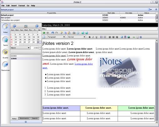 jNotes 2.0a screenshot