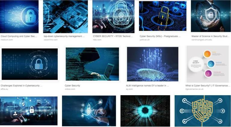 A screenshot of image search results for cyber security.  Blue is the dominant colour.  The Cybersecurity Visuals Challenge will help us explore other ways of visualising cyber security.