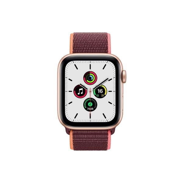 Apple Watch SE 44MM Gold Aluminum GPS Cellular Plum Sport Loop 1