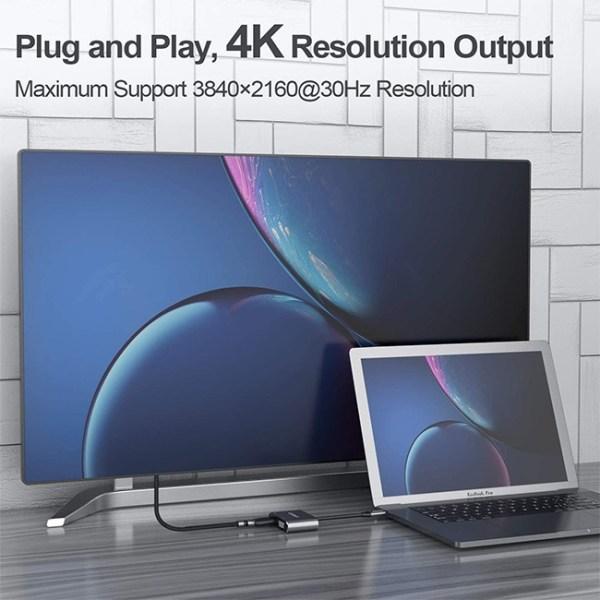 CLDAY Type C to 4K HDMI VGA USB 3.0 Hub Adapter 3