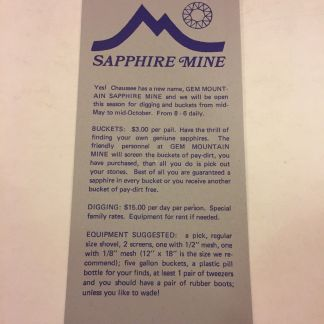 Gem Mountain Sapphire Mine Philipsburg Montana 1980 Brochure & Map $3/Bucket