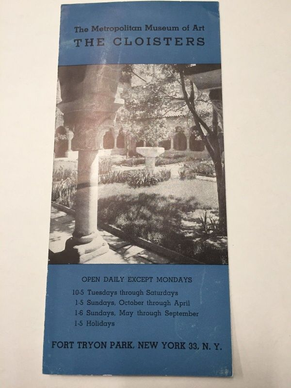 Metropolitan Museum Of Art Cloisters Fort Tryon Park 1951 Brochure Map - Cyber Dutchman