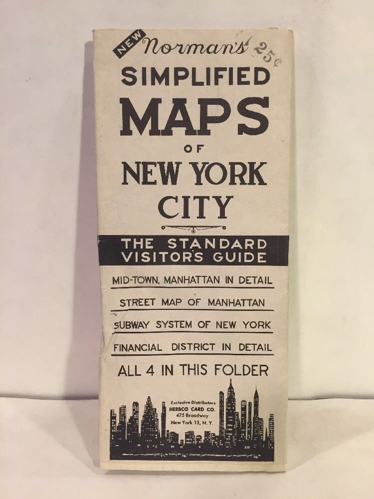 Simplified New York Subway Map.1940s 25 Cents Norman S Simplified Maps Of New York City Subway Manhattan Herbco
