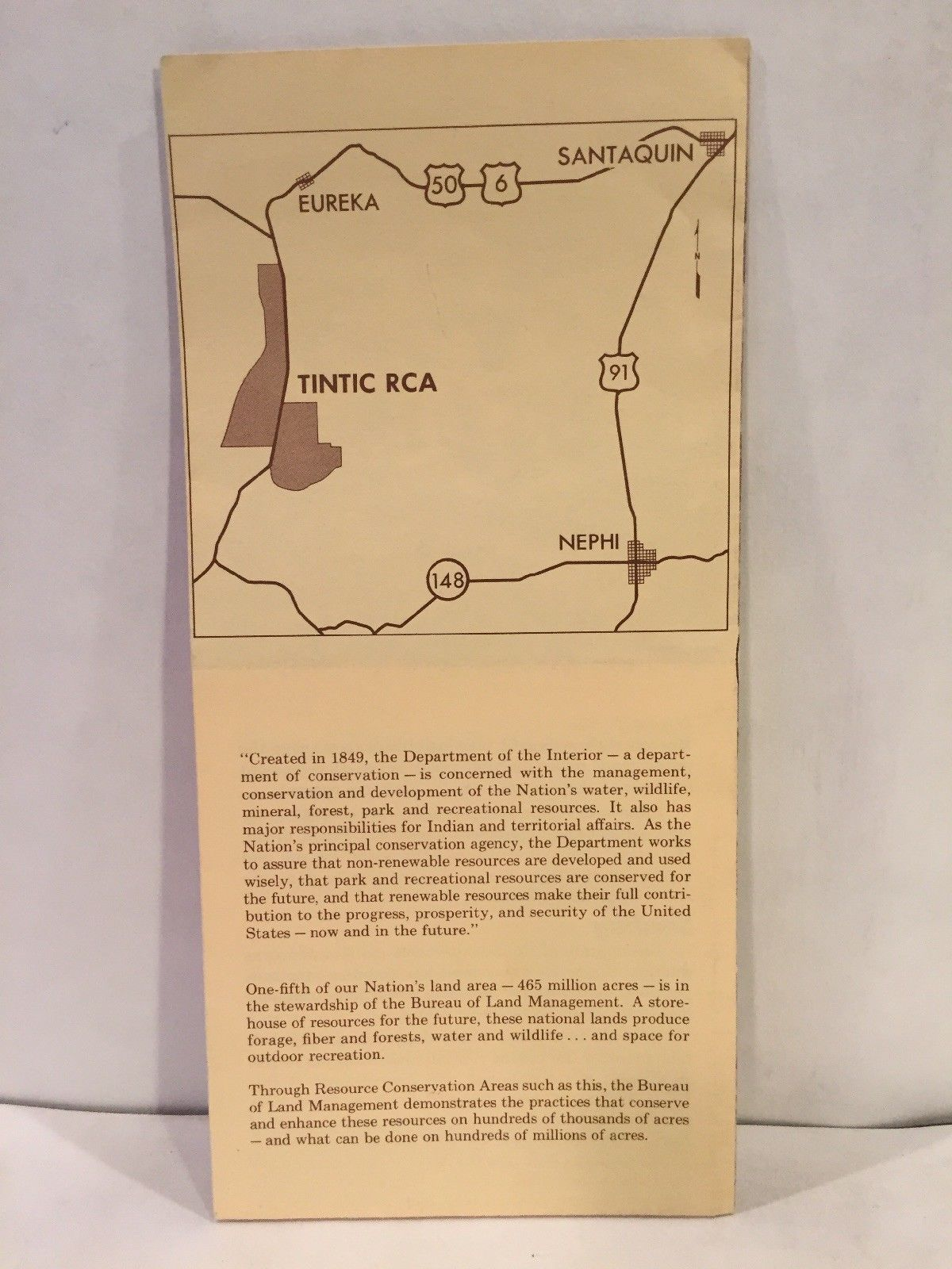 1966 Tintic Resource Conservation Area Fillmore District Utah Map