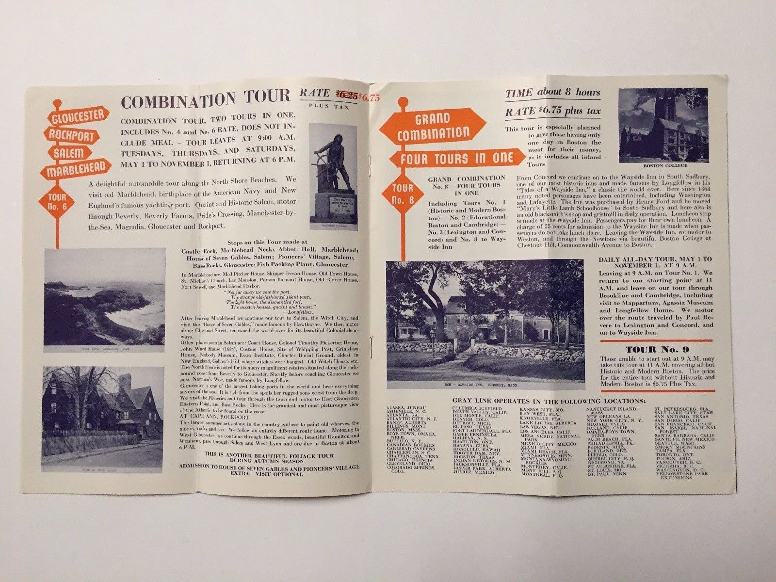 Seeing Boston The Gray Line Greyhound 1951 Travel Brochure & Map Tri-State