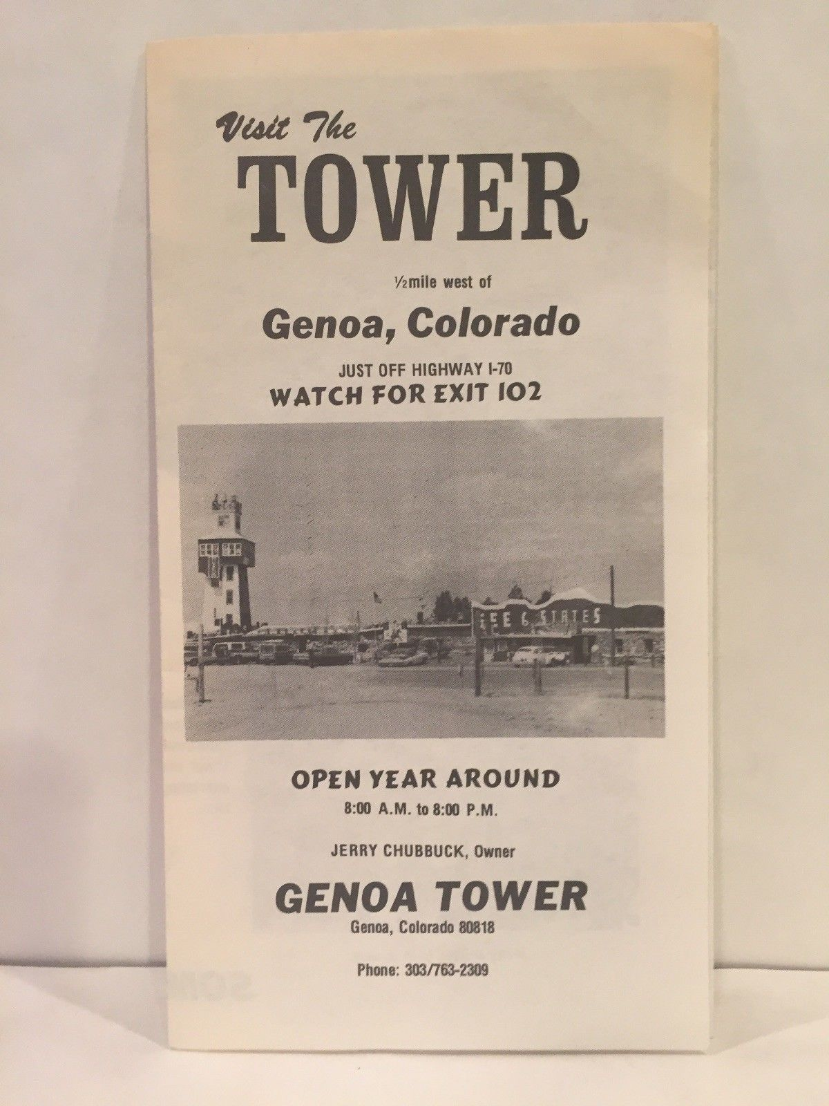 1970s VISIT THE TOWER Genoa Colorado Tourist Travel Brochure and Map  INSULATORS