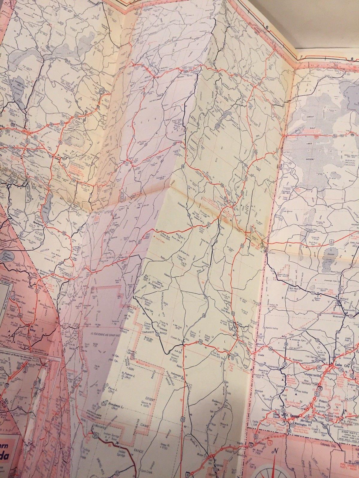 1967 TENNECO COLORADO NEVADA UTAH Gasoline Company Highway Interstate Road  Map