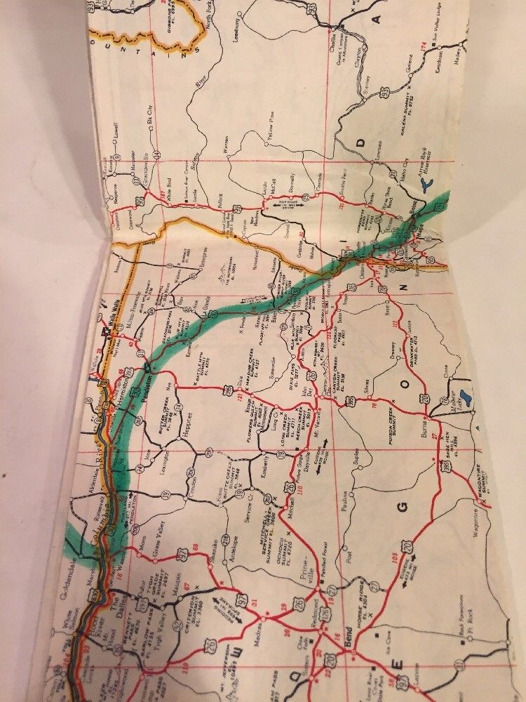 Road Map Of Western United States.1940s Sinclair Gasoline Power X Highway Road Map Western United
