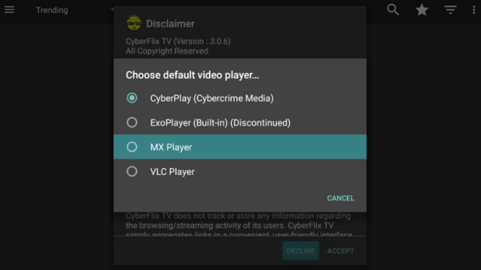 choose video player on cyberflix