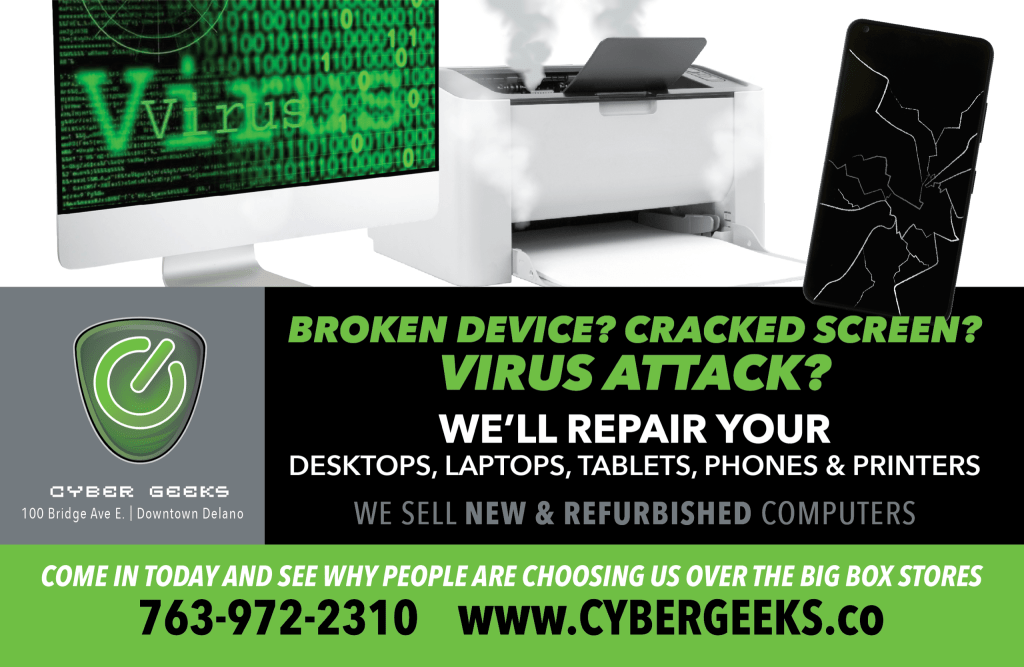 We repair desktops, laptops,tablets, phones and printers. We also sell new and used equipment