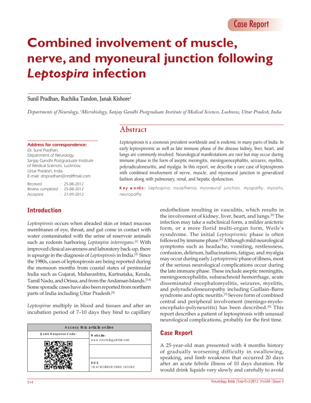 Combined involvement of muscle, nerve, and myoneural junction