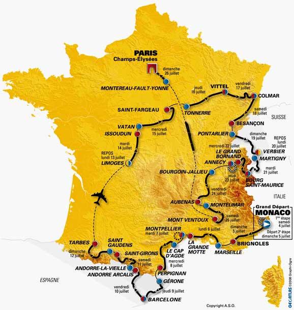 La carte du Tour 2009