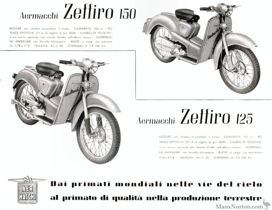 Aermacchi Zeffiro 125 and 150cc Scooters, 1955