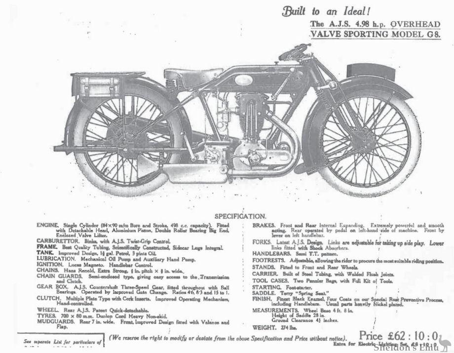AJS 1926 Model G8 4.98 h.p.