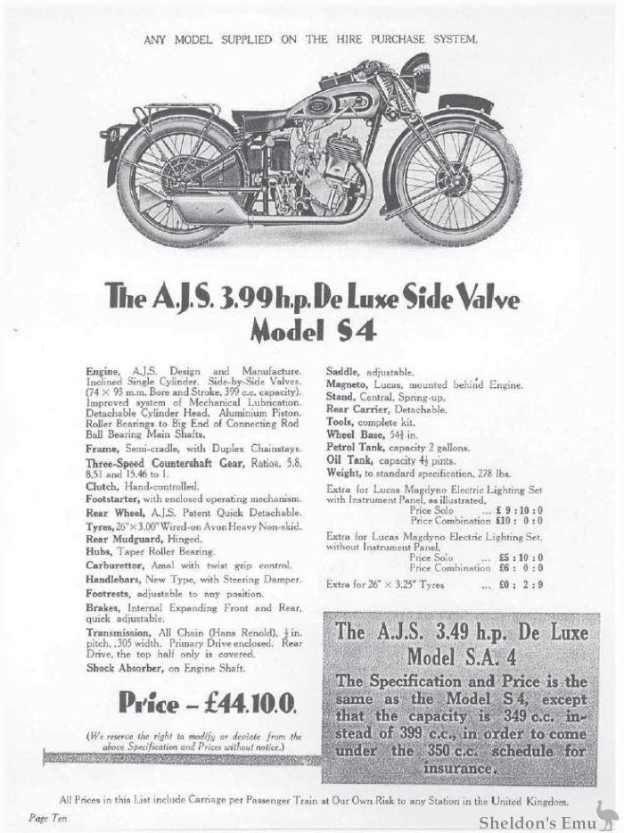 AJS 1931 Model S4 399cc SV