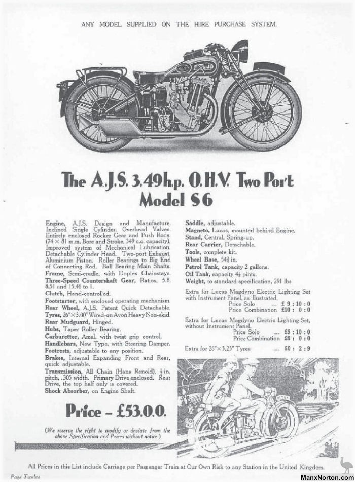 AJS 1931 Model S6 349cc OHV Two Port
