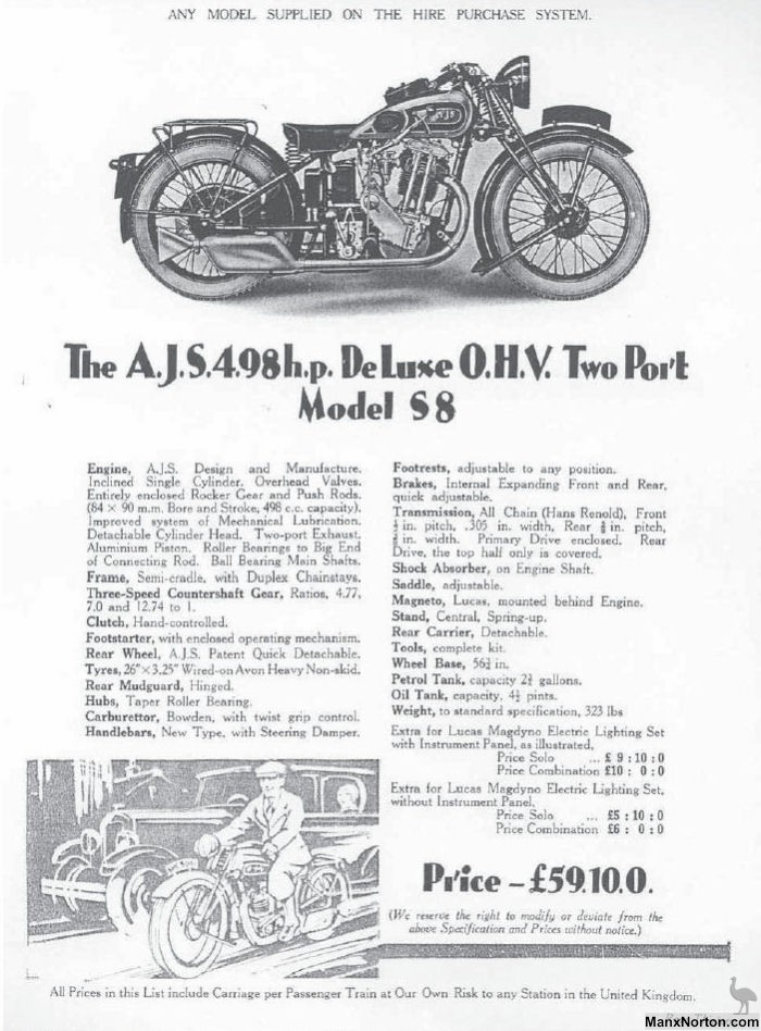 AJS 1931 Model S8 498cc OHV Two Port