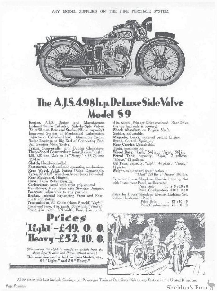 AJS 1931 Model S9 498cc SV