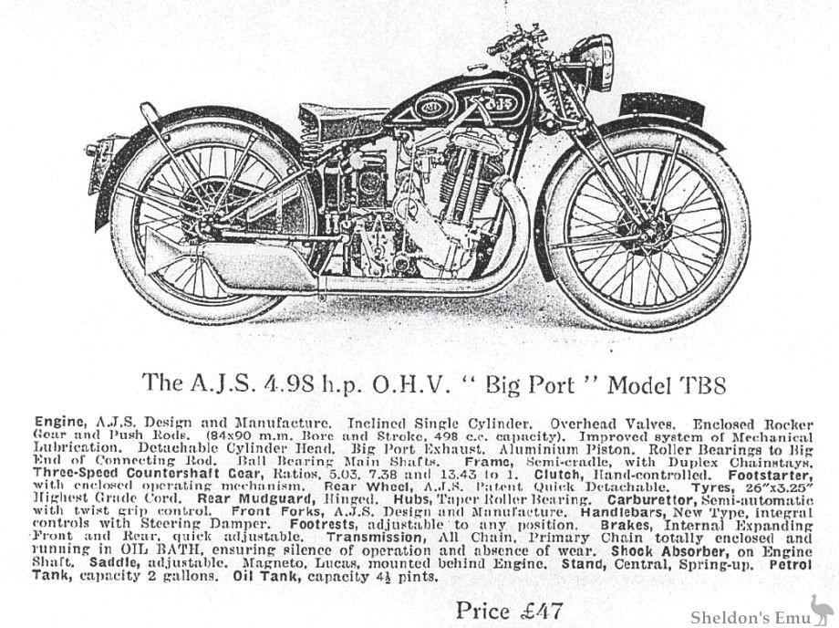 AJS 1932 Model TB8 4.98 h.p. OHV