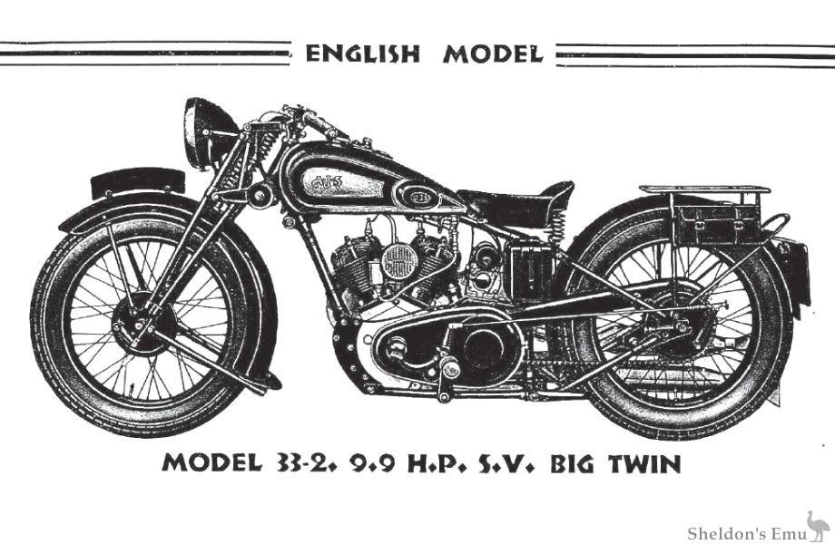 AJS 1933 Model 2 9.9 h.p SV V-Twin, English Model