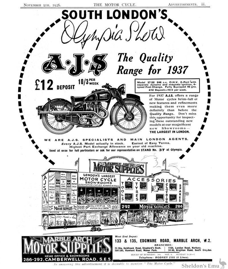 AJS 1936 Advertisement