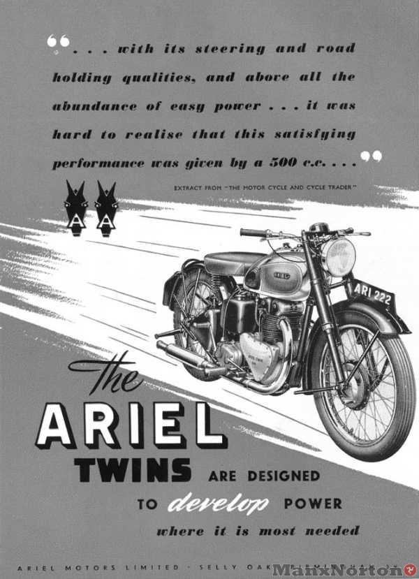 Ariel 1950 Twins Ad