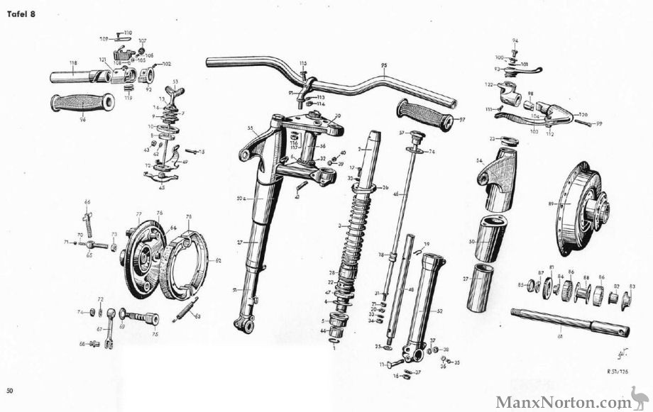 BMW R51-R7 Front Suspension Diagram