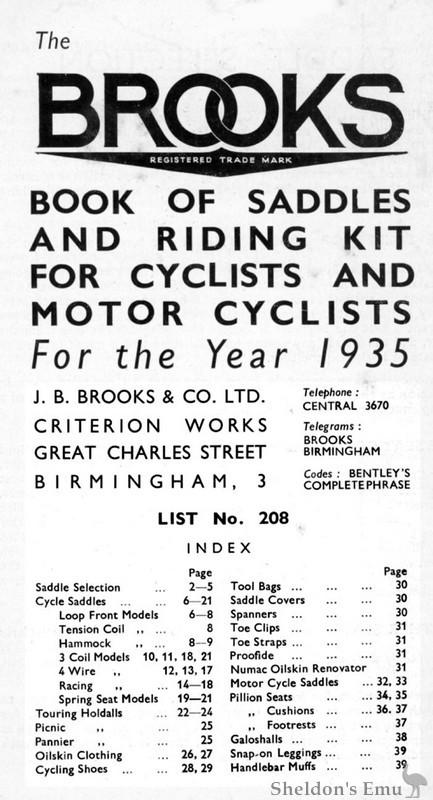 Brooks Saddles 1935