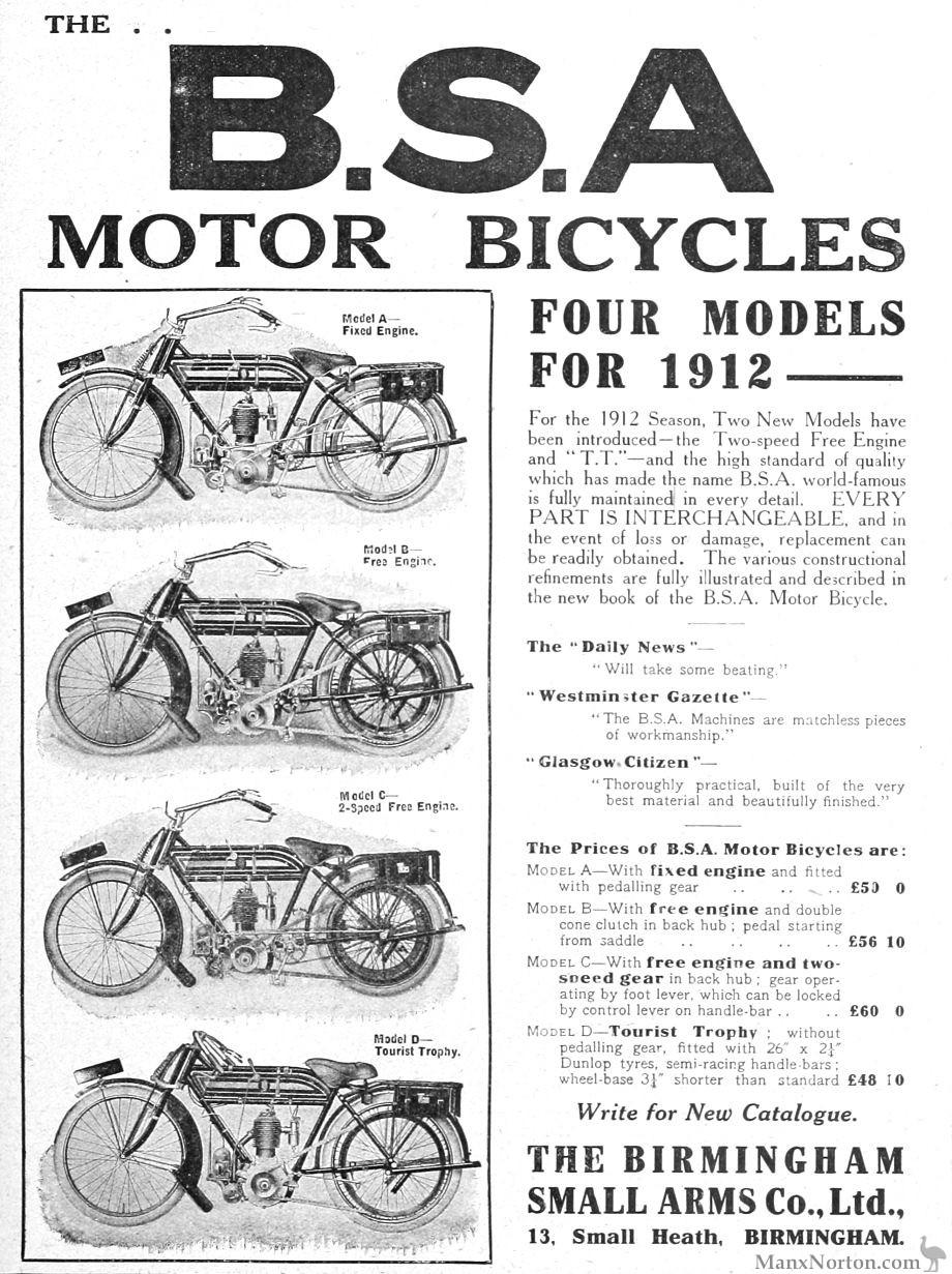 BSA 1912 Four Models