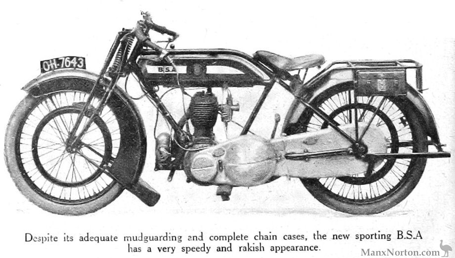 BSA Motorcycles for 1922