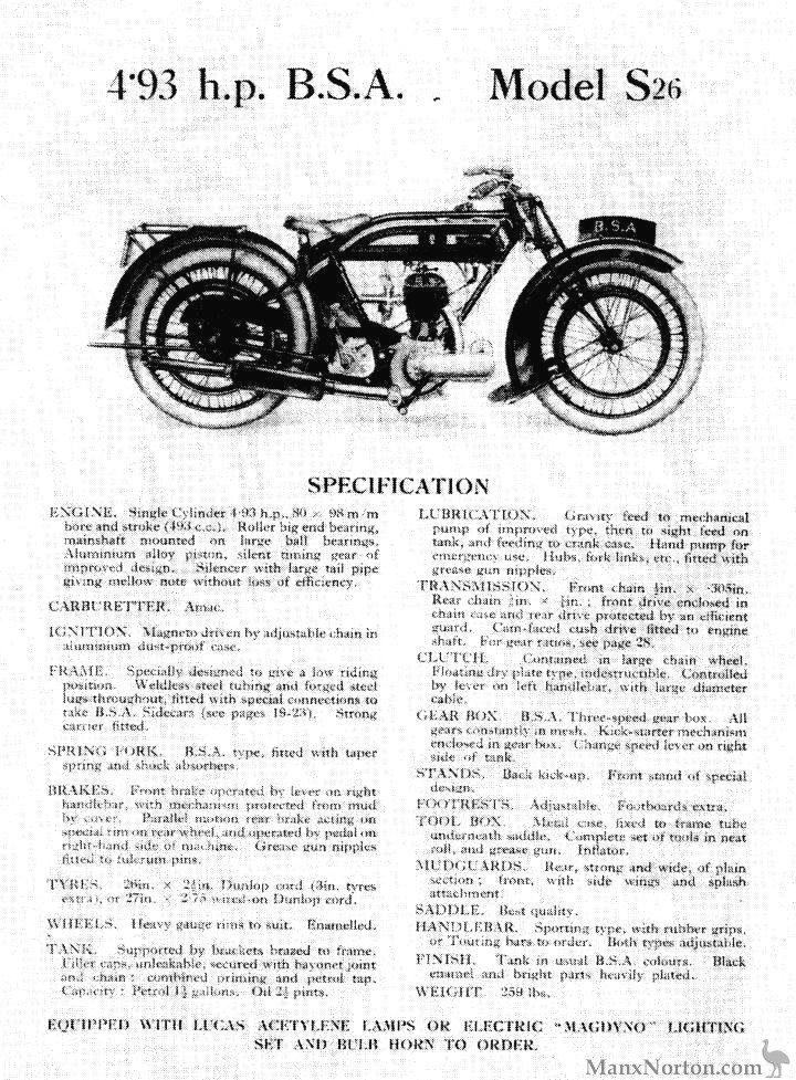 BSA S26 1926 Specification