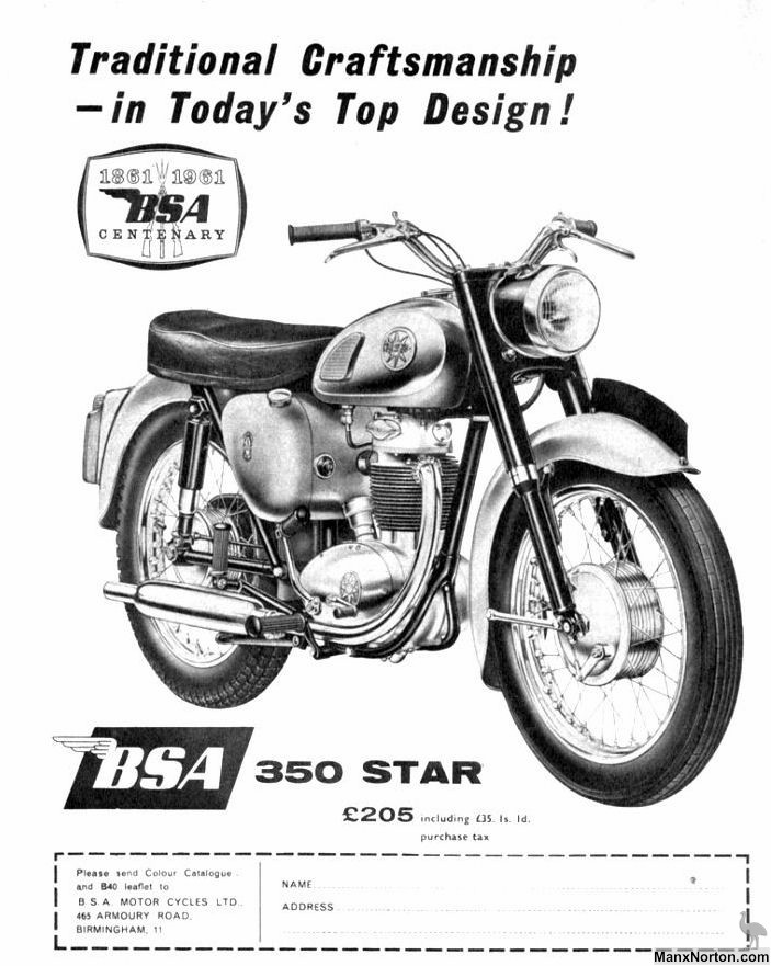 BSA 1961 350 Star advertisement