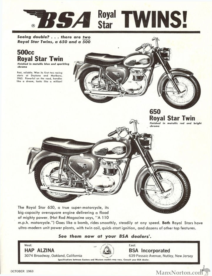 BSA 1963 Royal Star Twins, USA