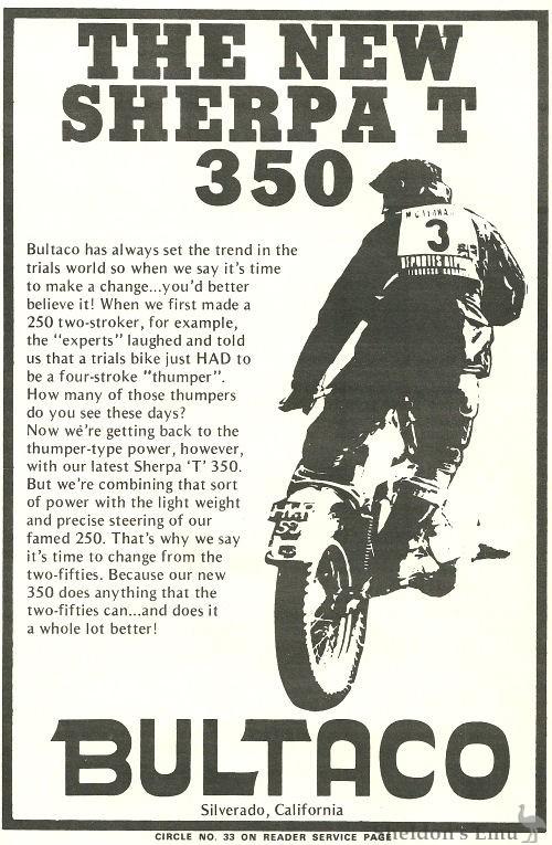 Bultaco Sherpa T 1973 Advertisement USA