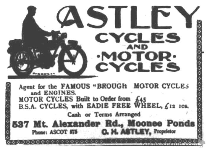 Astley Cycles and Motor Cycles, Moonee Ponds
