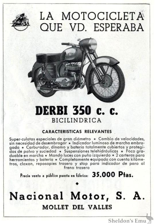 Derbi 350cc Twin, ca 1958