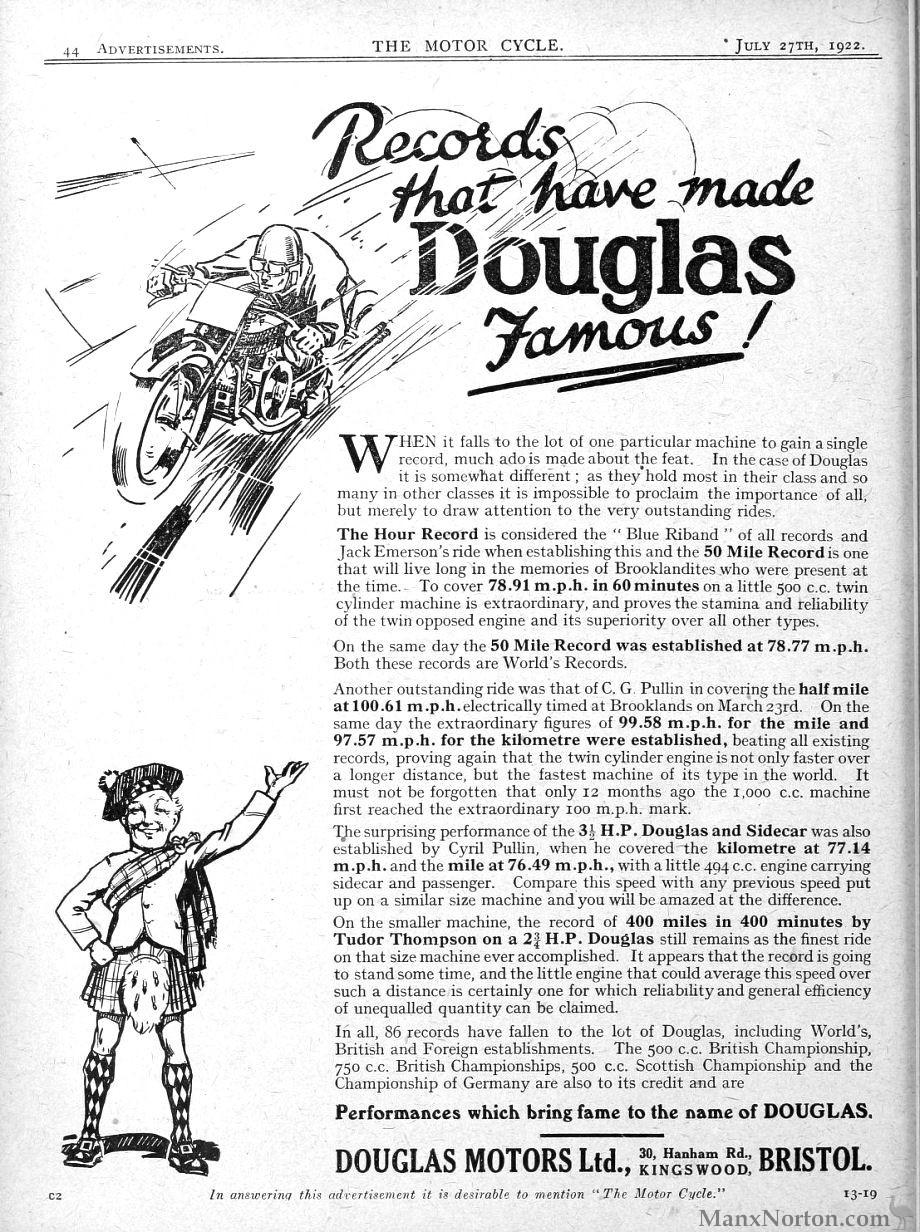Douglas 1922 Advertisement