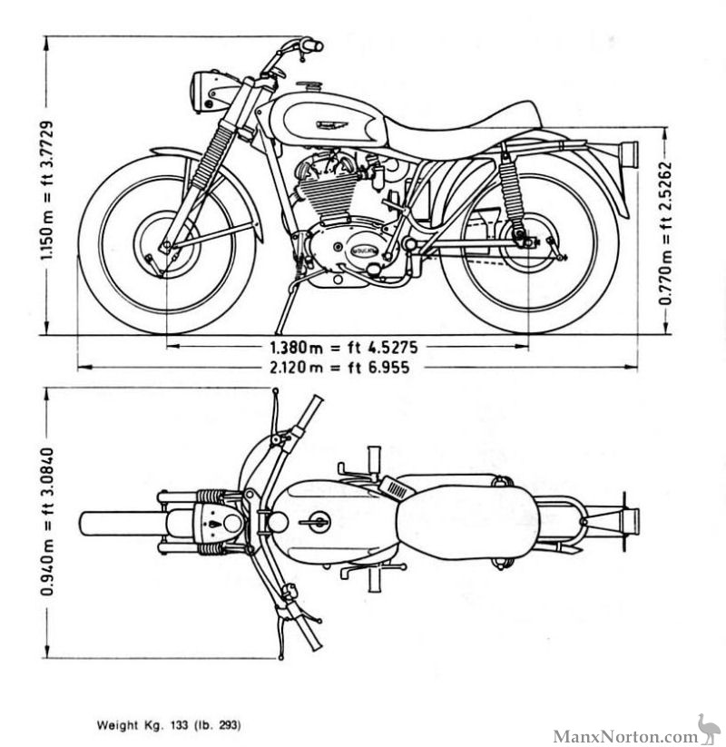 Ducati 350 Scrambler Drawing