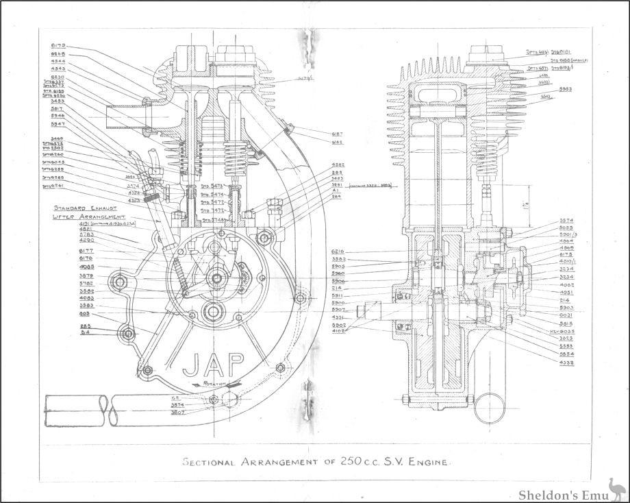 JAP 1917 250cc SV Engine Diagrame