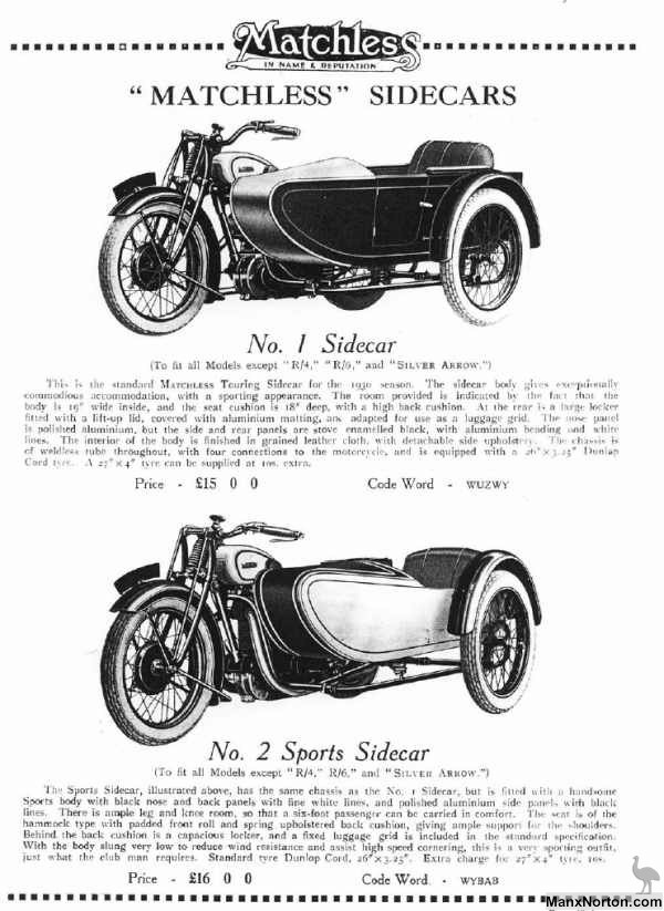 Matchless Sidecars 1930 Catalogue