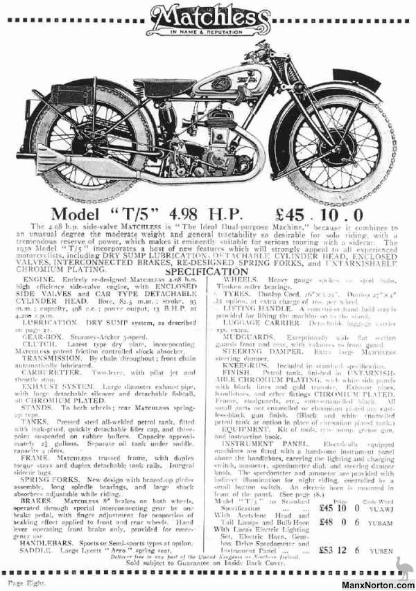 Matchless Model T/5 1930 Catalogue