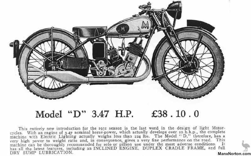 Matchless 1931 Catalogue Model D