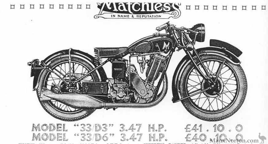 Matchless 1933 Model D3 D6 3.47 H.P.