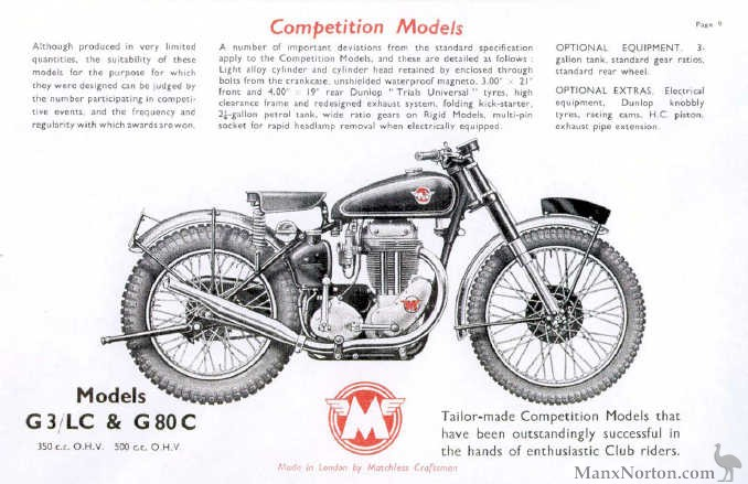 Matchless 1953 G3LC & G80 Competition Models