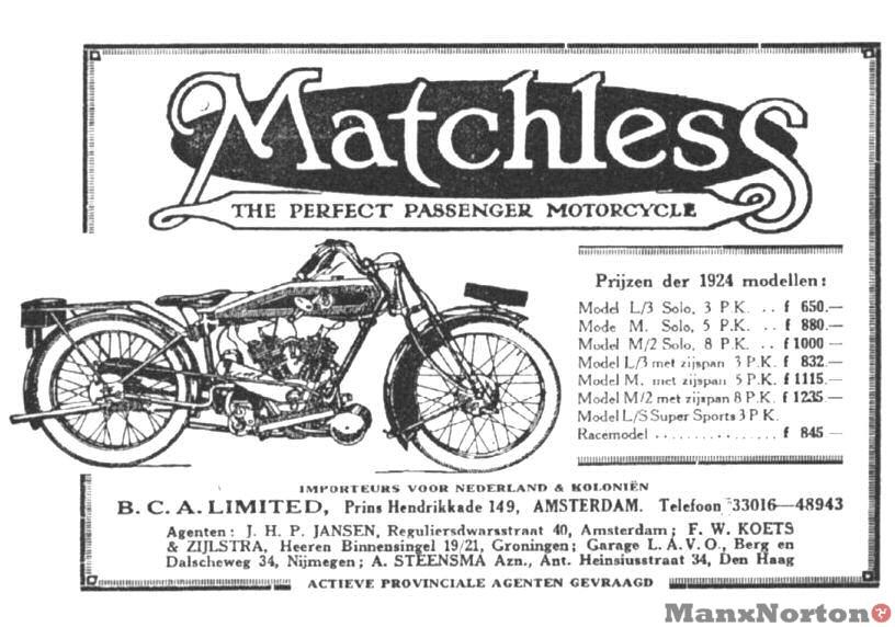 Matchless 1924 Advert