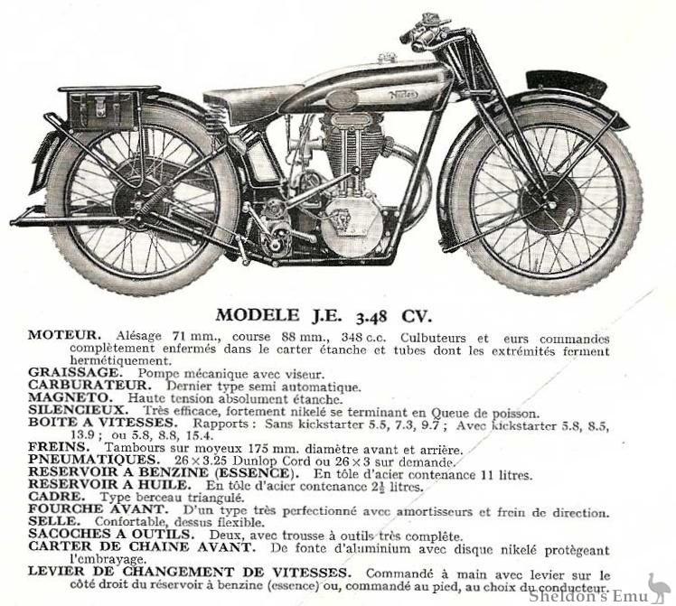 Norton 1930 JE 348cc Specifications