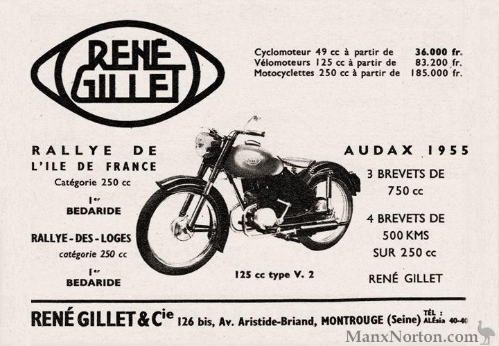 Rene Gillet 125cc 1955 type V.2 advert