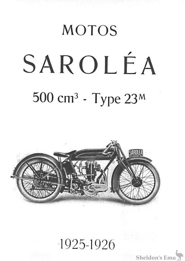 Sarolea 1925 23M 500cc Parts Catalogue
