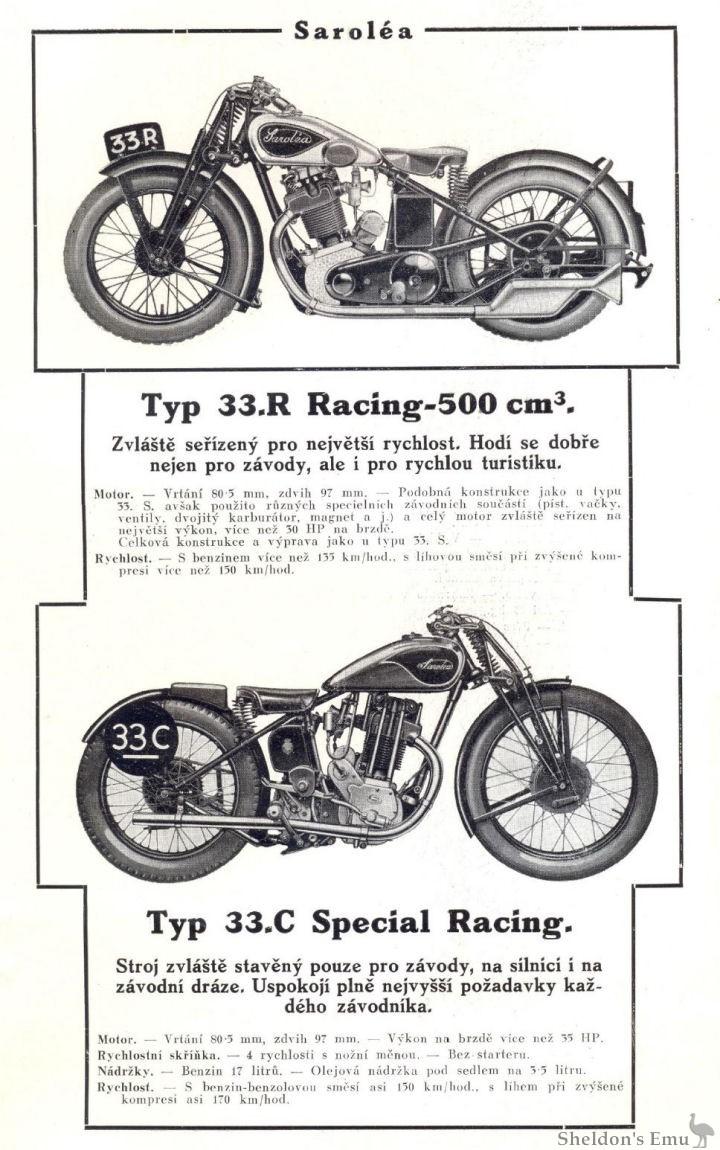Sarolea 1933 500cc Type 33R & 33C