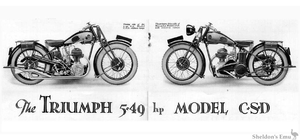 Triumph Catalogue 1930 Model CSD
